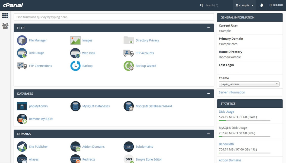 Host Hero Australia cPanel dashboard interface
